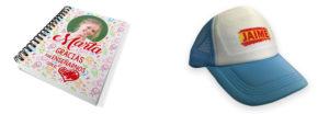 Cuaderno y gorra personalizados